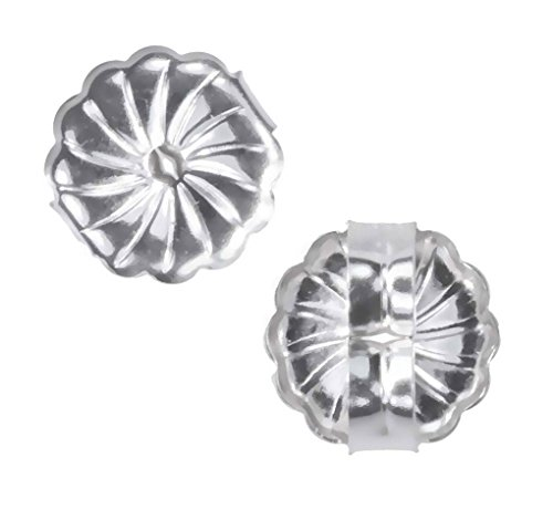 uGems 14K White Gold Swirl Earring Backs Premium Medium 7mm (1 Pair) ()