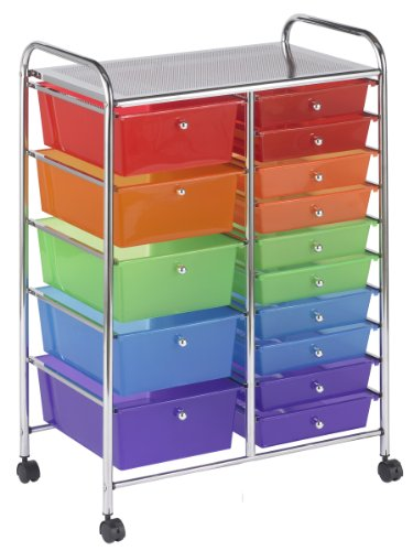ECR4Kids 15-Drawer Mobile Organizer, Assorted Colors (Rainbow 8 Drawer Rolling Chest By Recollections)