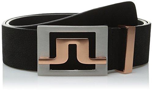J.Lindeberg Men's Slater Brushed-Leather Belt, Black, 80