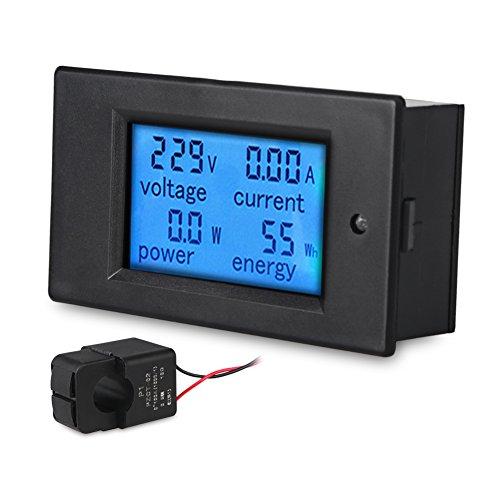 00A Voltmeter Ammeter Voltage Amperage LCD Display Current Voltage Power Energy Multimeter with Current Transformer CT/Blue Backlight (Digital Lcd Display Multimeter)