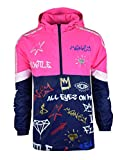 SCREENSHOTBRAND-S51801 Color Block Lightweight Graffiti Print Neon Windbreaker Jacket-Neon Pink-Medium
