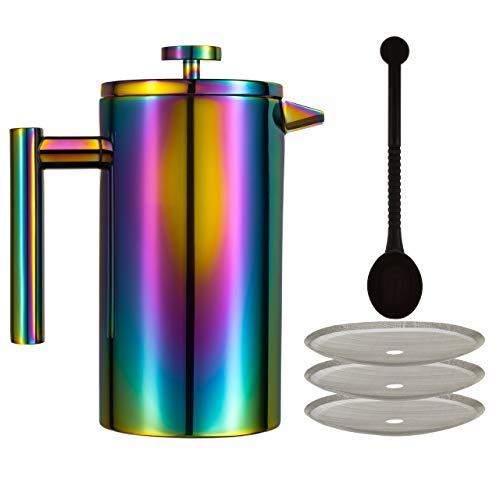 French Press Coffee Maker – Large 34 Oz Stainless-Steel French Press Coffee Maker | Colorful Rainbow Double Walled…