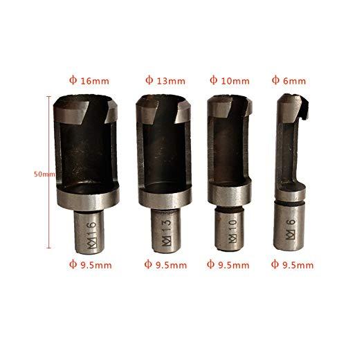 Zavarea 4Pcs Carbon Steel Barrel Cork Drill Round Shank Wood Plug Cutter Drill Bit Set(6mm/10mm/13mm/16mm)