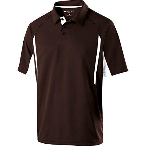 (Holloway Sportswear Avenger Short-Sleeve Polo Shirt. 222530 Brown / White L)
