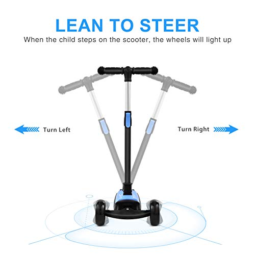 Foldable Scooter for Kids,3 Flashing Wheels Kids Scooter, Toddler Scooter with 4 Adjustable Height and Rear Heel Brake for Kids Age 3 Year+ (Blue)