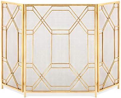 暖炉スクリーン 大型フラットガード錬鉄の暖炉スクリーン、屋内屋外の金属の装飾メッシュカバー、安全な薪バーニングストーブアクセサリー、ゴールド、33×52in