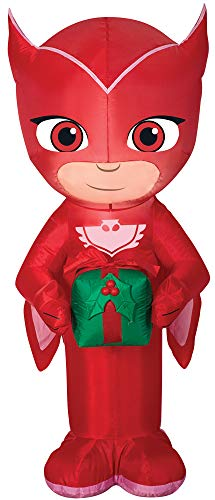 Airblown Owlette w/Present Funny Theme Party Inflatable Christmas Decoration -