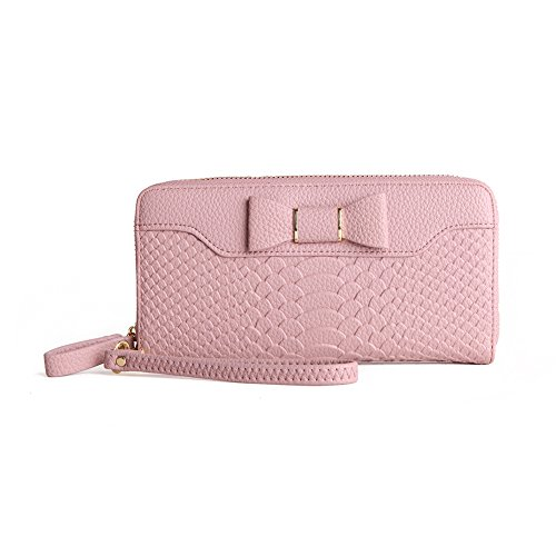 Women Fashion PU Leather Wallet Zip Around Purse Long Handbag (Pink) - 2