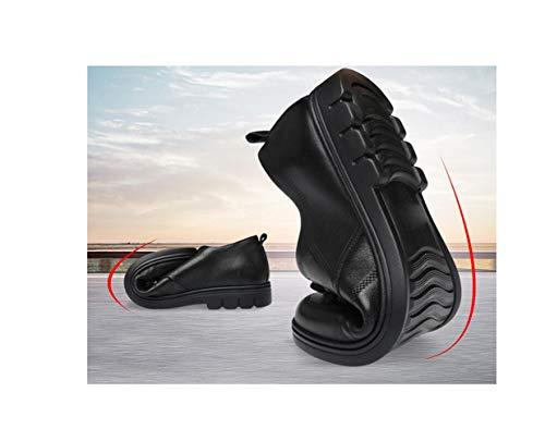 Scarpe Sportivi Colore in Affari Casual Tondo Morbido Sandali Stivali Stagione Punta Tela Pelle Nastro Uomo Black A qntPWU6