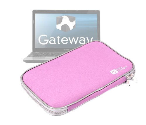 DURAGADGET Pink Water Resistant Neoprene Laptop Cover With Dual Zips For Gateway Black 15.6