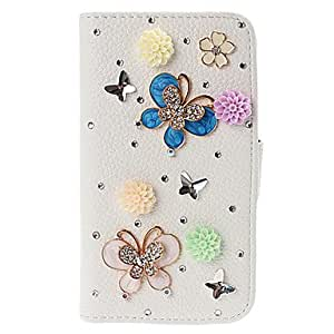 DIY 3D Colorful Flowers and Butterfly Pattern Leather Case with Stand for Samsung Galaxy S4 I9500
