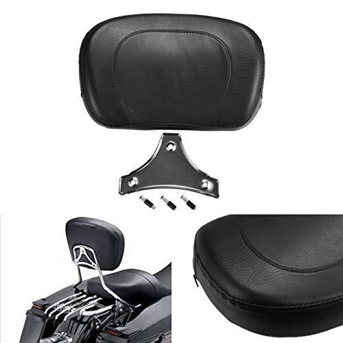 (NATGIC Motorcycle Backrest Black Rear Passenger Seat Stud Studded Cushion Detachable Pad for Harley Yamaha Honda Suzuki Kawasaki Bikes/Custom Bikes/Choppers/Touring/Cruiser)