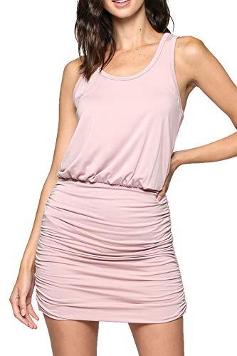 LaClef Women's Mini Ruched Tank Shift Dress (Dusty Pink, L) ()
