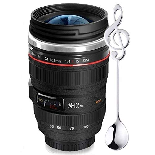 Camera Lens Coffee Mug,Comes with a Musical Note Spoon,Updated Version Sealed Lids,Insulated Stainless Steel Travel Thermos,Photographer Filmmaker Cup,Novelty Gifts Ideal for All Ages,by Triumphic (Best Gift For Filmmaker)