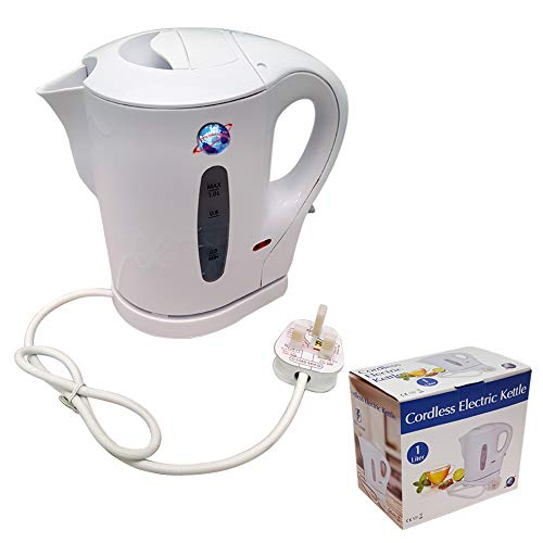 1 Litre White 900w Electric Cordless Kitchen Kettle Caravan Travel Hot Water Jug - Overheat Thermostat EK001 [Energy Class A]
