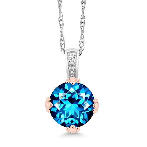 Diamond 10K 2-Tone Gold Pendant Natural Kashmir Blue Topaz Cut by Swarovski