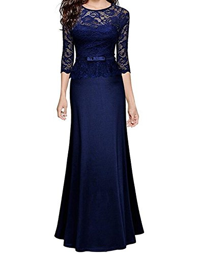 Women's 3 CACHOR Retro Blue Peplum Slim Maxi Sleeve Wedding Lace Dress 2 Floral Navy gSdXwS