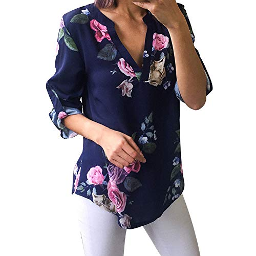 (Blouse V Neck Knot Front Short Sleeve Ladies Floral Printing Half Sleeve T-Shirt Irregular Tops Blouse Women (M,8- Blue))