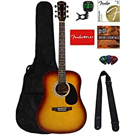 Fender Squier Dreadnought Acoustic Guitar – Sunburst Bundle with Fender Play Online Lessons, Gig Bag, Tuner, Strings…