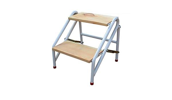 Escalera portátil de Dos peldaños de la Banda de Rodadura, escaleras de Tijeras de escaleras de Madera para taburetes de la casa para niños y Adultos, Herramienta de jardín de Acero al