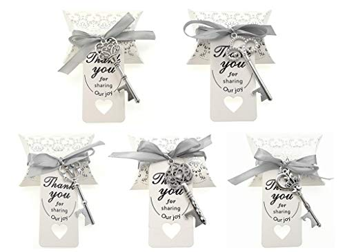 - Kinteshun Wedding Party Favor Set,Skeleton Key Bottle Openers Candy Boxes Escort Tags and Ribbon Souvenir Gift Set(Silver Tone,50 sets with 5 Styles)