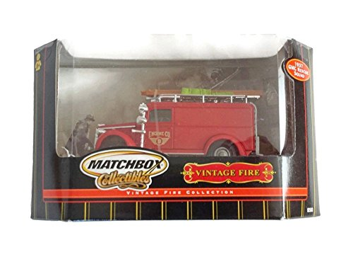 MATCHBOX COLLECTIBLES, VINTAGE FIRE ENGINE, 1932 FORD AA -OPENED CAB FIRE ENGINE,#92620 (RED FIRE ENGINE, BLACK, GRAY, AND WHITE ACCESSORIES (Vintage Fire Engine)