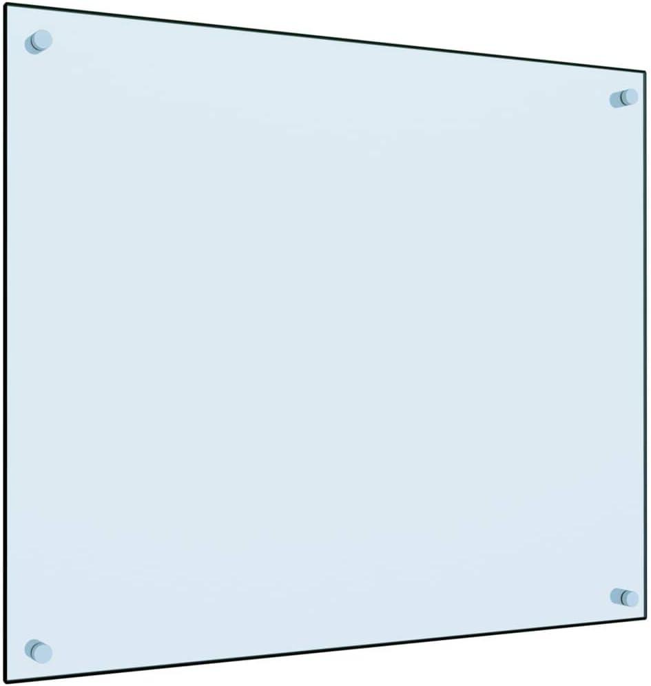 vidaXL Dosseret de Cuisine Carrelage Mural D/écoration Protection Anti-/éclaboussures R/ésistant aux Rayures Blanc 70x60 cm Verre Tremp/é