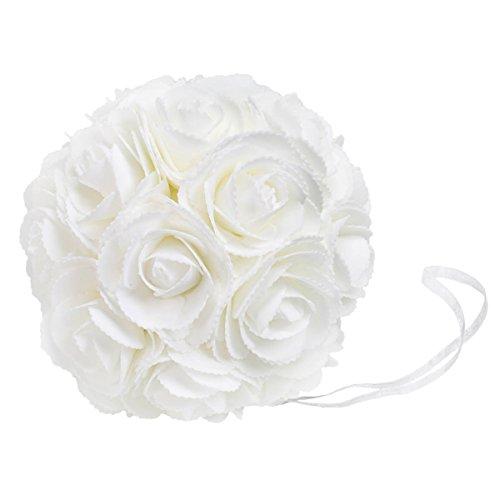"""WYZworks Foam Flower Kissing Ball Pomander IVORY WHITE 8""""..."""