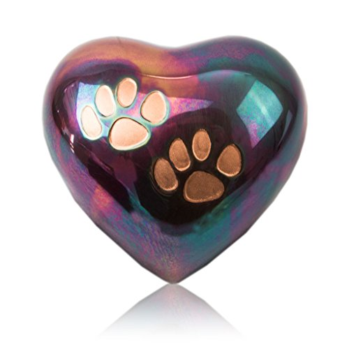 OneWorld Memorials Paw Print Bronze Cremation Keepsake for Cats and Dogs - Extra Small - Holds Up to 3 Cubic Inches of Ashes - Raku Blue Pet Cremation Urn for Ashes - Engraving Sold Separately