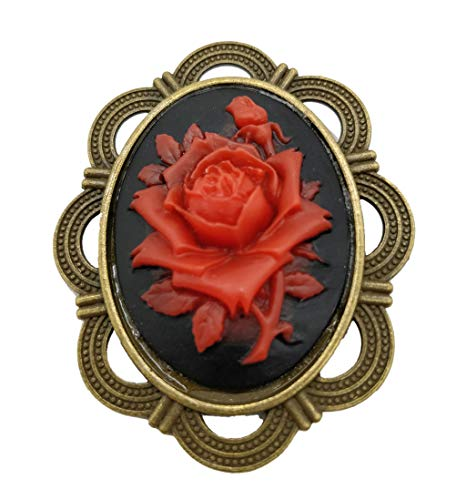 Flower Cameo Pin Brooch (Ahugehome Women Cameo Brooch Pin Shield Decor Fashion Jewelry Box Gifting (E Cameo Rose Flower))
