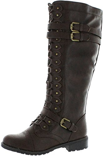 Wild Diva Women's Fashion Timberly-65 Military Knee High Combat Boots Shoes Brown Wet Pu 8.5