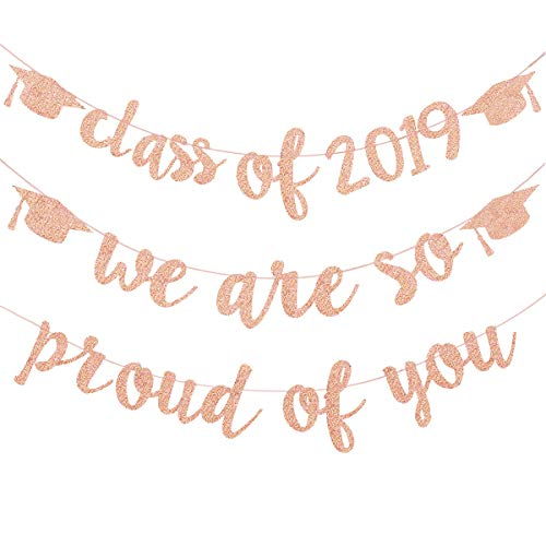 Rose Gold Pink Glittery Class of 2019 Graduation Cap Banner and We are So Proud of You Graduation Cap Banner for Graduation Grad Party Decoration Supplies