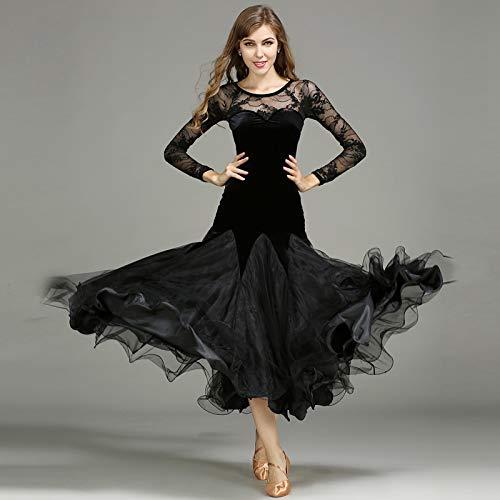 社交ダンスドレス ラテンドレス モダンドレス ロングワンピースダンスウェア レディース おしゃれ 長袖ワンピース B07H3V6QRZ ブラック XL