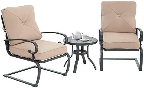 Patiomore 3 Piece Outdoor Bistro Set Spring Metal Action Lounge Cushioned Chairs and Bistro Round Table Set