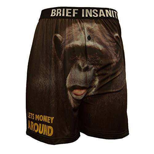 Monkey Boxer Shorts - BRIEF INSANITY Comfortable Loose Fit Boxer Shorts | Lake & Woods Theme Design Graphic Boxers for Women & Men (Large, Let's Monkey Around)