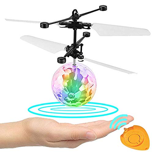 Wecolor Kids Flying Ball Crystal Flashing LED Light Flying Ball RC Toy RC Infrared Induction Helicopter for Kids, Teenagers Colorful Flyings Toy for Boys and Girls Gift. (Colorful Light)