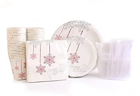 Amazon.com: Christmas Disposable Dinnerware for 40 Guests, 280 ...