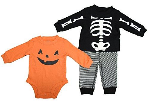 Carters Baby Boy's 3 Piece Halloween Skeleton/Pumpkin Bodysuit-Pants-Shirt (Newborn, Orange/Black/White)]()
