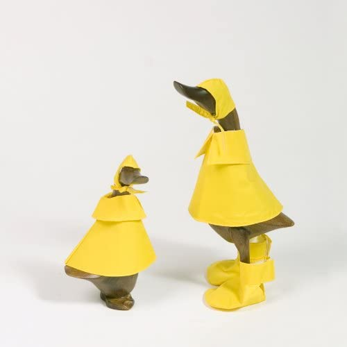 Bamboo Rain Duck Family Set of 2, Natural Hand Carved Bamboo Root Wood Raincoat Duck Figure Statue, Indoor Outdoor Garden Decor Ornament, Unique Gift Idea