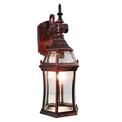 eTopLighting LA Maison Collection Outdoor Rustic Copper Wall Light Lantern with Beveled Glass Lighting Fixture Sconce, Luxurious Outdoor Decoration Light, APL1859 (Terra Cotta Wall Fixtures)