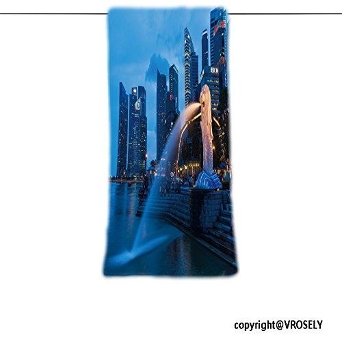 VROSELV Custom Towel Soft and Comfortable Beach Towel-SINGAPORE JANUARY , Night view of Singapore Merlion at Marina Bay agains Design Hand Towel Bath Towels For Home Outdoor Travel Use - Ford Singapore