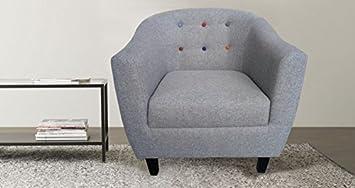 Bedzonline Jayden Tub Chair Tufted Button Back Grey Fabric Modern Comfy  Armchair