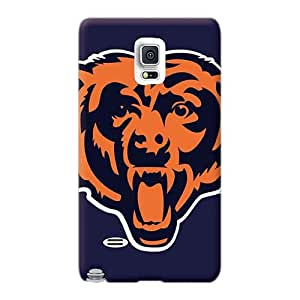 Shock Absorption Hard Cell-phone Cases For Samsung Galaxy Note 4 With Custom Colorful Chicago Bears Nfl Team Logos X Pixels Head Pattern TimeaJoyce