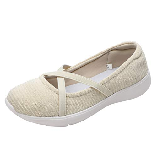 Flat Shoes for Women Casual Classic Criss Cross Round Toe Ladies Canvas Comfort Flats Beige