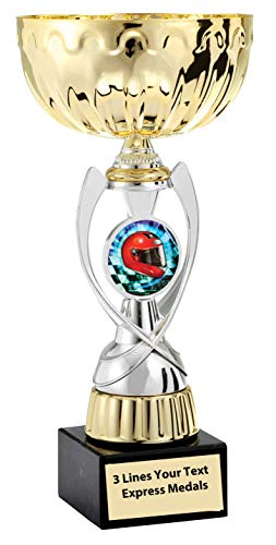(Express Medals Gold - Silver Auto Racing Metal Trophy Plastic Stem Cup Marble Base and Personalized Engraved Plate)
