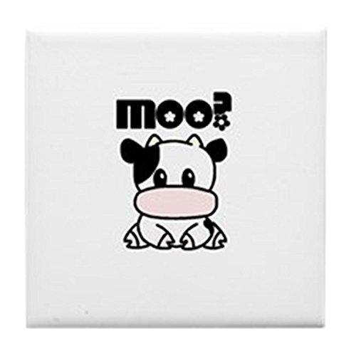 CafePress - Moo? Cow Tile Coaster - Tile Coaster, Drink Coaster, Small Trivet - Cow Trivet