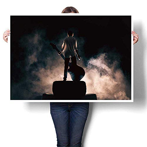 SCOCICI1588 Canvas Print Wall Art The Musician Plays on a Rock Guitar in a Great Smoke Rock Music Concert and Festival Painting,16