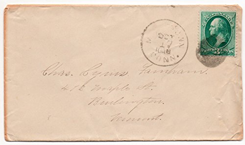 Us Postal Cover - US Postal Cover 1880's Canceled Oct 17 Conn. 3 Cent Washington Postage Stamp Scott #147