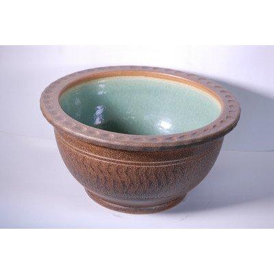風の水琴工房 窯肌トチリワン型水鉢 16号 - 信楽焼 B077828RH8