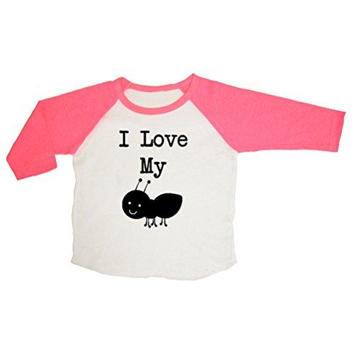 Mashed Clothing Unisex-Baby I Love My Aunt (Ant) Raglan 3/4 Sleeve T-Shirt (Pink/White, 0-3 Months)